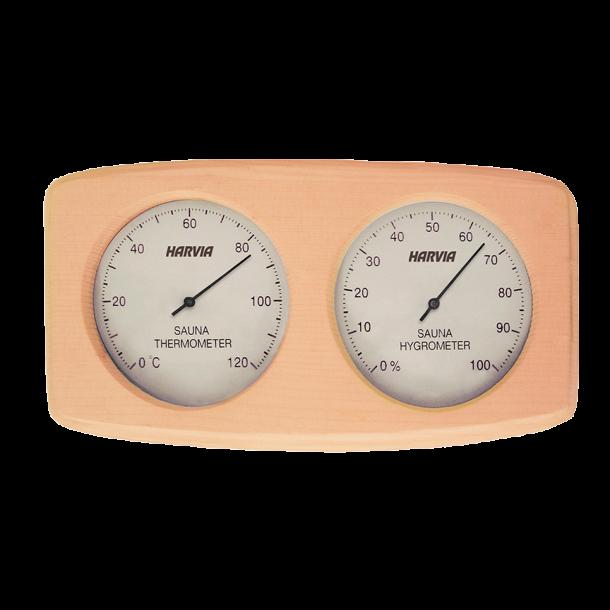 Harvia termometer og hygrometer i træramme