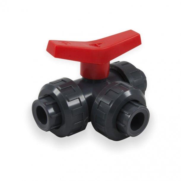 PVC tre-vejs kugleventil